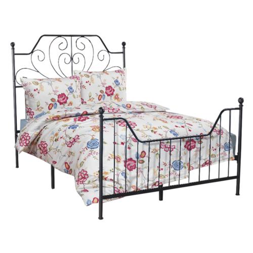 Fém ágy ágyráccsal, fekete, 140x200, RAJANA