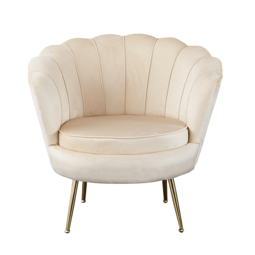 Art-deco desing fotel bézs bársony szövet arany króm- arany NOBLIN