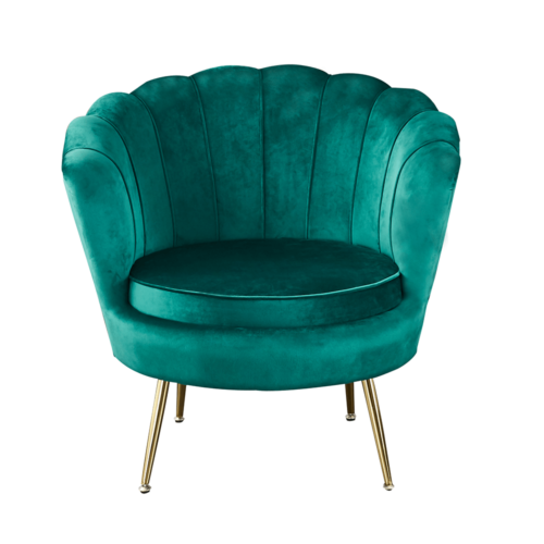 Art-deco desing fotel  smaragd bársony szövet arany króm- arany NOBLIN