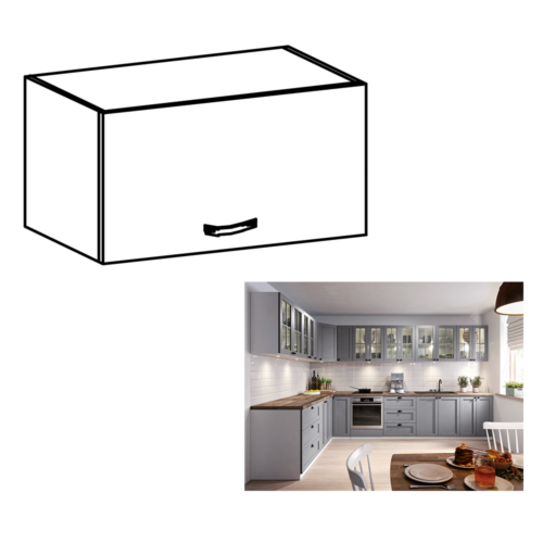 Felső szekrény fehér matt szürke  LAYLA G60KN