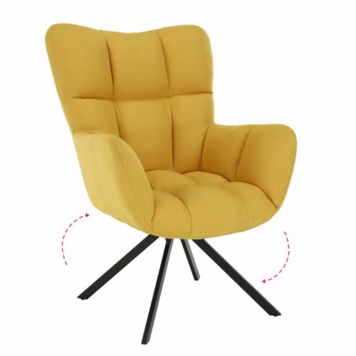 Dizájnos feorgó fotel sárga fekete KOMODO