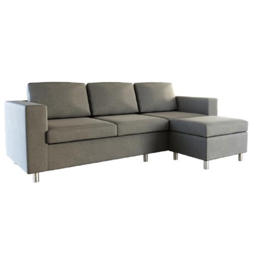 3-személyes kanapé puffal világosszürke SILERA