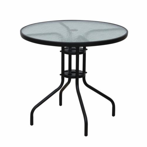 Étkezőasztal fekete acél edzett üveg BORGEN TYP 2