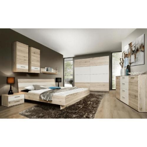 Hálószoba szekrény és ágy 180 cm és 2db éjjeliszekrény  homok tölgyfa fehér VALERIA
