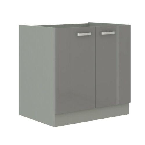 Alsó mosogató szekrény szürke magas fényezéssel PRADO 80 ZL 2F BB