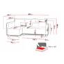 Kép 7/8 - Brest sarok ülőgarnitúra szürke szövettel ágyazható, ágyneműtartós