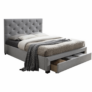 Kép 1/3 - Modern ágy ágyneműtartóval szürke szövet 160X200 SANTOLA