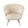 Kép 1/3 - Art-deco desing fotel bézs bársony szövet arany króm- arany NOBLIN