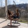 Kép 16/21 - Függő dupla fotel, szürke/világosszürke, DALVEA NEW