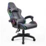 Kép 5/9 - Irodai/gamer szék RGB LED háttérvilágítással, fekete, MAFIRO