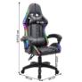 Kép 3/9 - Irodai/gamer szék RGB LED háttérvilágítással, fekete, MAFIRO