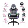 Kép 9/9 - Irodai/gamer szék RGB LED háttérvilágítással, fekete, MAFIRO