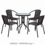 Kép 8/14 - Étkezőasztal, fekete acél/edzett üveg, BORGEN TYP 2