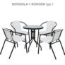 Kép 9/14 - Étkezőasztal, fekete acél/edzett üveg, BORGEN TYP 2