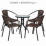Kép 12/14 - Étkezőasztal, fekete acél/edzett üveg, BORGEN TYP 2