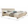 Kép 3/4 - Hálószoba, szekrény+ágy+2db éjjeliszekrény, homok tölgyfa/fehér, VALERIA