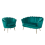 Kép 4/4 - Fotel Art-deco stílusban, smaragd Velvet anyag/gold króm-arany, NOBLIN
